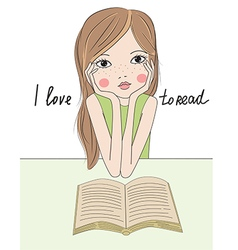 Cartoon girl with book vector image vector image