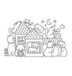cats in house vector image vector image
