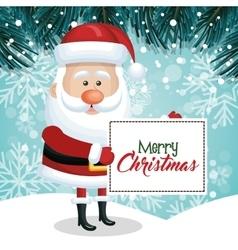 merry christmas card santa snowfall pine design vector image