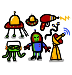 alien icon set vector image vector image