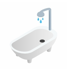 Bathtub with shower isometric 3d icon vector image