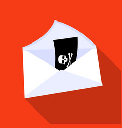 e-mail with virus icon in flat style isolated on vector image