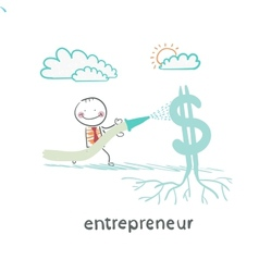 Entrepreneur watering from a hose dollar vector