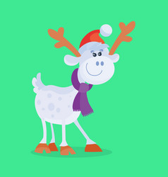 funny cartoon reindeer flat icon vector image