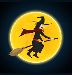 halloween witch flying on broom and moon vector image vector image