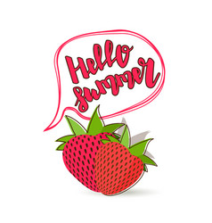 hello summer strawberry comic text bubble vector image vector image