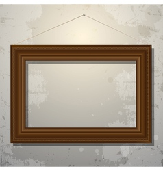 Wooden empty frame of picture on old wall vector