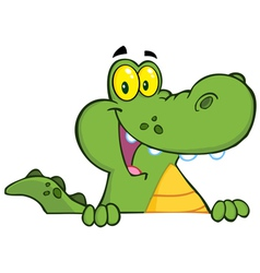 Alligator Or Crocodile Over A Sign vector image vector image