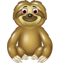 Cartoon funny sloth sitting isolated vector image vector image