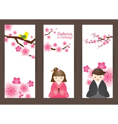 Cherry Blossoms and Japanese Couple Backdrop vector image