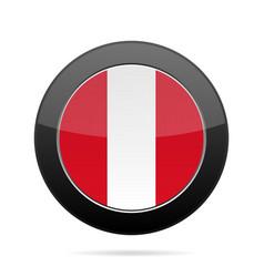 flag of peru shiny black round button vector image