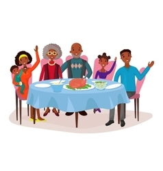 Happy afro american family at dinner table vector image vector image