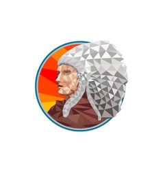 Native American Indian Chief Warrior Low Polygon vector image vector image