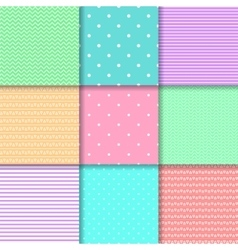 Set of nine seamless pattern in pastel colors vector image vector image