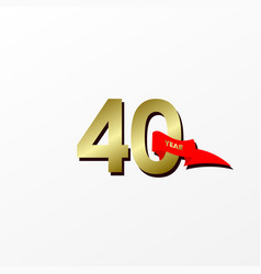 40 years anniversary celebration gold with red vector