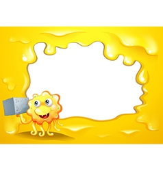 A yellow border design with a smiling monster vector