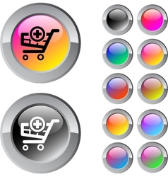 Add to cart multicolor round button vector image