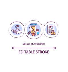 Antibiotics misuse concept icon vector