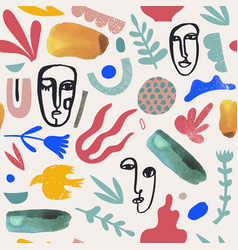 Art hand drawn collage seamless pattern vector