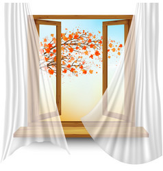 Autumn background with open window and colorful vector
