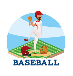 Baseball player with professional sport uniform vector