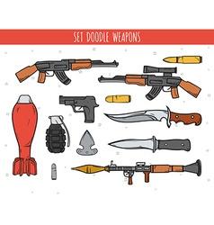 Big doodle set weapon shells handwork bombs vector