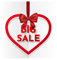 big sale bright holiday heart frame banner vector image
