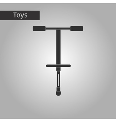 Black and white style toy pogo stick vector