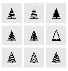 black christmas tree icon set vector image