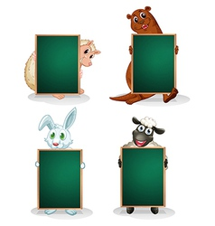 Blackboards in front of the animals vector