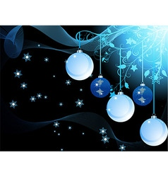 Blue Christmas baubles and waves vector