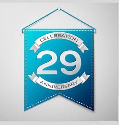blue pennant with inscription twenty nine years vector image