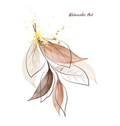 brown leaves branches watercolor art decorated vector image