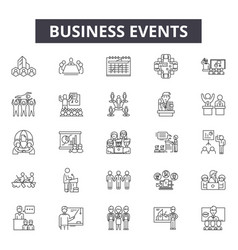Business events line icons signs set vector