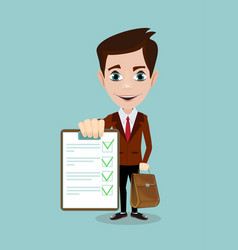 Businessman answers questions of interview vector