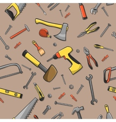 Carpenter tools seamless pattern vector image