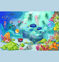 Cartoon colorful marine underwater life background vector