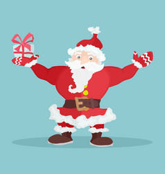 cartoon santa claus with a bright gift stock vector image