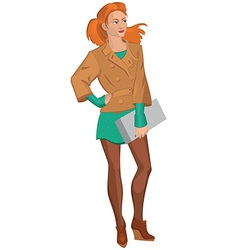 Cartoon young woman in brown jacket and green vector image