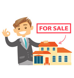 Caucasian real estate agent offering the house vector