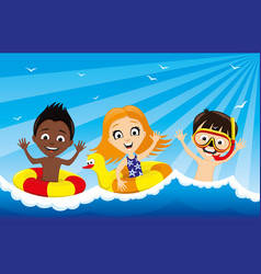 Children are swimming in the water vector