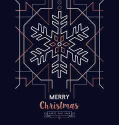 christmas and new year copper outline snow card vector image