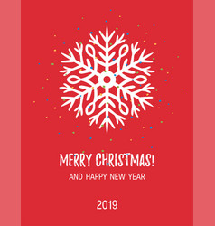 Christmas card with hand drawn snowflake vector