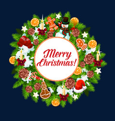 christmas wreath decoration greeting card vector image