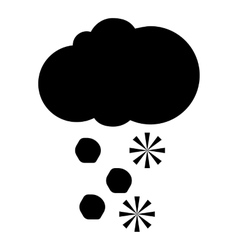 Cloud and snow icon simple style vector
