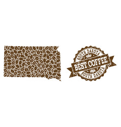 Collage map of south dakota state with coffee vector