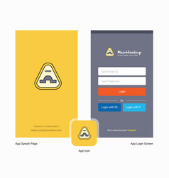 Company jump road sign splash screen and login vector