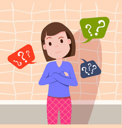 Confused woman thinking question marks bubbles vector