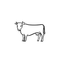 cow hand drawn sketch icon vector image