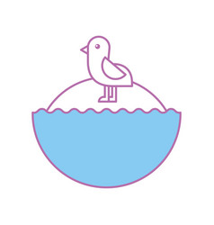 cute bird sea icon vector image